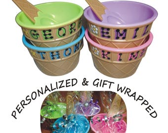 "Personalized Plastic Ice Cream Party Favor / 4"" wide x 2.5"" tall / Ice Cream Dish with spoon - personalized & wrapped / sprinkles party"