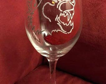 Moon Wolf Hand Painted Glass