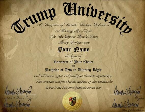 Gag Geschenk Trump anpassbare Universitätsdiplom