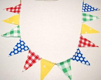Mini cake topper gingham and dots 1st birthday  cake topper  flag cake banner  pennant