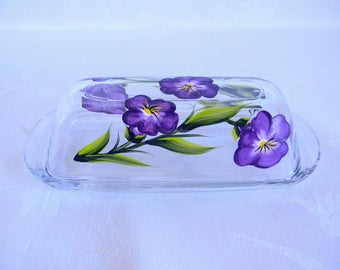 morning glory butter dish, painted butter dish, floral butter dish, glass butter dish, butter with a lid, kitchen decor, serving dish