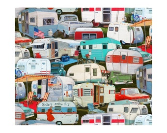 Retro Camper Fabric, Elizabeths Studio ELS3505 Mul, Camping Fabric, Vintage Trailers, Travel Trailer Fabric, Sisters on the Fly, Cotton