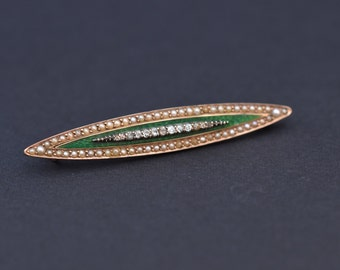 Antique diamond guilloche enamel gold brooch.