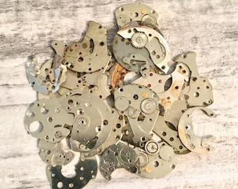 Vintage Watch Parts, 20g, Date Dial Guards, Barrel Bridges, Steampunk Supplies, Larger Mixed Metal Parts, Watch Repair, Altered Art