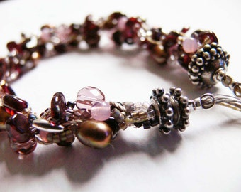 OOAK Beadwoven Beaded Bracelet - Garnet Gemstones, Pearls, Miyuki Delica & Czech Glass beads, Sterling Silver