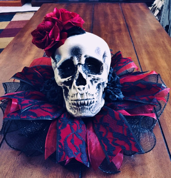 Deep Red Black Roses Flowers Lace Skull- Day of the Dead Halloween Centerpiece