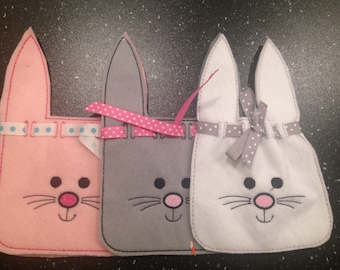 Easter Bunny Candy Bag - Embroidered Candy Bag - Felt Bag