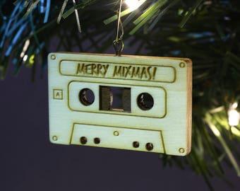 Hardwood Cassette Tape Ornament