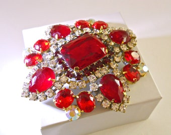 Red Czech Brooch, Glass & Clear Rhinestones, ABs, Huge Vintage