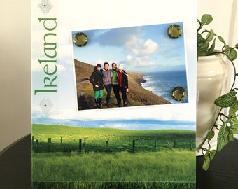 Emerald Isle Ireland - Magnetic Picture Frame Handmade Gift Present Home Decor by Frame A Memory Size 9 x 11 Holds 5 x 7 Photo - World Trip