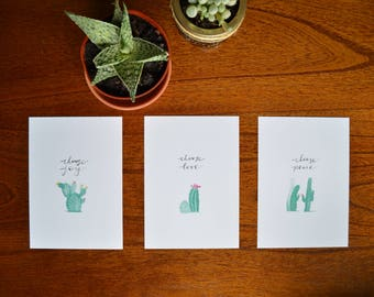Christmas Cactus Series - Three 5 by 7 Prints