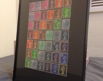"""8x10!England - Framed Postage Stamp Framed Art 8"""" x 10"""", London stamps"""