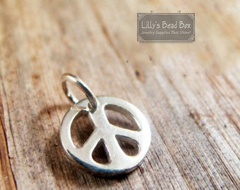 Silver Peace Charm, Peace Sign Charm, .925 Sterling Silver Round Peace Sign Charm, Boho Charm, Jewelry Supplies (CH 544)