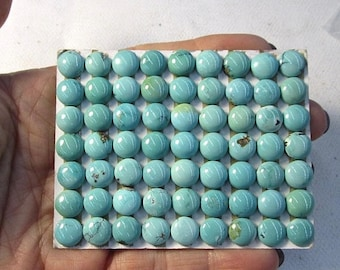 SALE Natural Kingman Turquoise Cabochon 8mm Round,  Robins Egg Blue Arizona Turquoise  QTY4, 98F