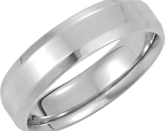 6mm Beveled  Palladium Wedding Band