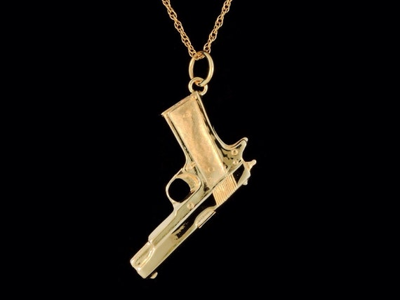 Solid 14k yellow gold 1911 45 pistol pendant or necklace aloadofball Gallery