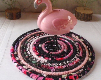 Pink and Black Coiled Fabric Hot Pad, Trivet, Table Mat - Handmade by Me
