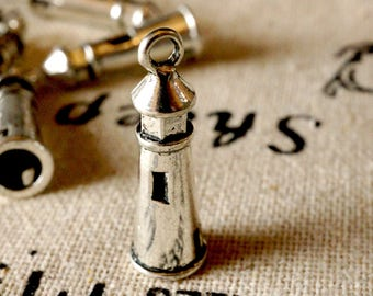 Lighthouse charm 5 antique silver vintage style pendant jewellery supplies C183