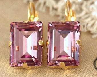 Purple Drop Earrings,Swarovski Dangle Amethyst Earrings,Bridesmaids Earrings,Step Cut Swarovski Earrings,Bridal Mauve Dangle Earrings