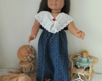 Long Doll dress, navy blue with white eyelet and matching sandals, fits American Girl doll