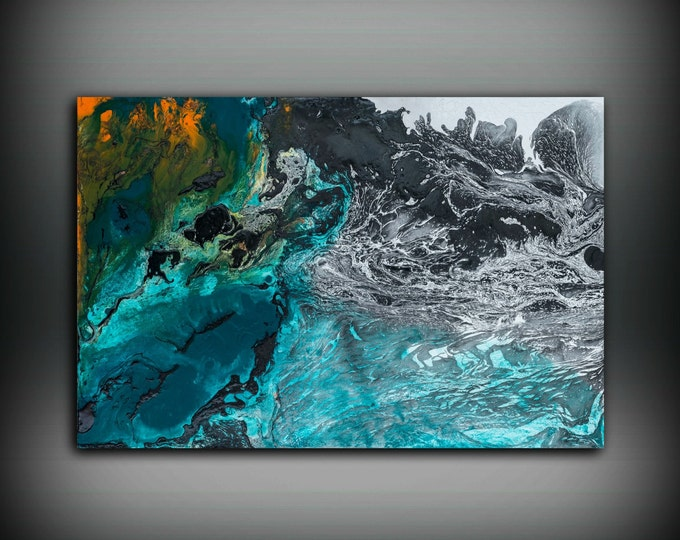 Gift for Him Painting 24 x 36 Abstract Painting Oil Painting Abstract Wall Art Large Wall Art Canvas Blue Home Decor Wall Hanging Canvas Art