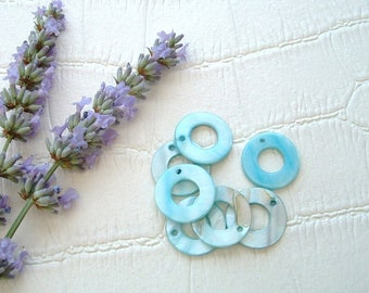 Set of 5 circular shell beads 20mm genuine sky blue