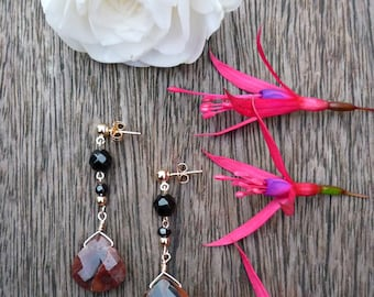 Brown Honey Quartz, Gold Earrings, Gold Jewelry, Gemstone Jewelry
