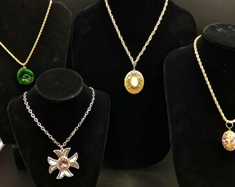 Estate Lot of Four Very High End Pendants with Worthy Chains to Match - Pristine Condition