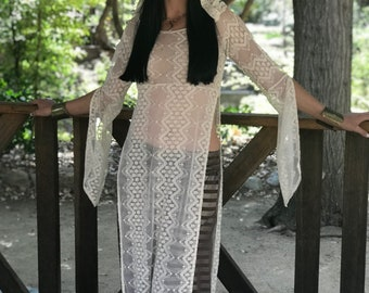 NEW: The Ivory Lace Long Tunic Dress with Hood by Opal Moon Designs (size S-XL)