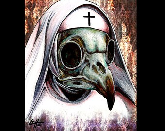 "Print 8x10"" - Nun - Bird Skull Raven Skeletons Nuns Dark Art Horror Bones Cross Catholic Habit Gothic Bilble Church Haunted Lowbrow Art"