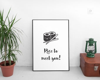 Nice to meet you print, printable art, black and white art, home decor, kids print, nursery decor, typography print, Scandinavian art