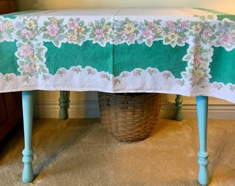 Springtime Vintage Green, pink, yellow and Aqua Table Cloth