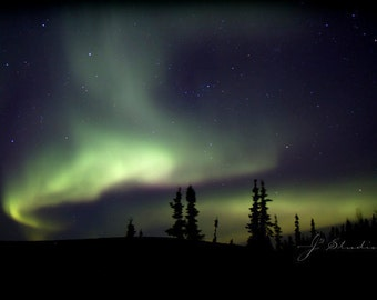 emerging aurora, celestial photography, northern lights art print, green borealis, alaska art