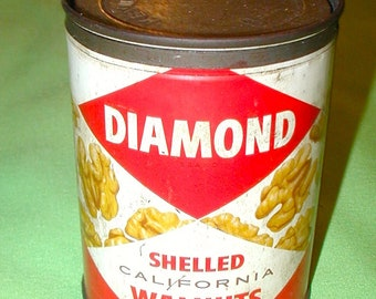 Diamond shelled California walnuts vintage tin can metal peanuts