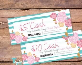Agnes and Dora Cash - Dora Dollars - Agnes and Dora Gift Certificates - Agnes and Dora Marketing Kit - Agnes Dora Marketing Branding - Teal