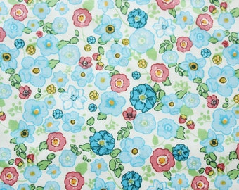 Floral Cotton Fabric / Floral Fabric / Quilting Fabric / Teal / Little Flowers / Patchwork Blouse Dress Sewing Material / Half Metre