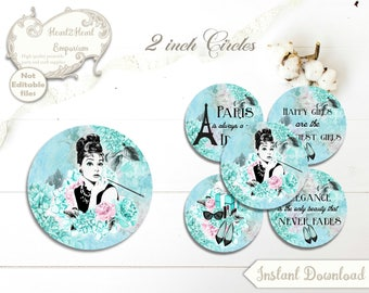 Digital Audrey Hepburn Breakfast at Tiffany's Circles - 2inch - Party,Cupcake Cake Straw Toppers,Collage Sheets,Bottle Cap,Wedding,Birthday