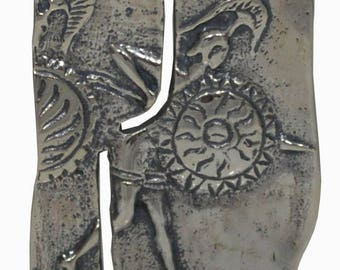 Spartan Mural Reproduction Sterling Silver Pendant Brooch Pin King Leonidas