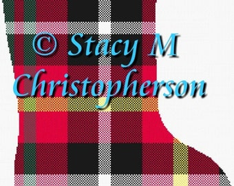 Scottish tartan Christmas stocking cross stitch pattern