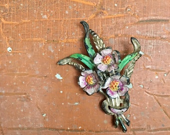 Vintage Bouquet Floral Flowers Pin Pendant Brooch // Piece for Upcycling // Gift for Her