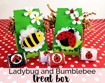 KIT Ladybug and Bumblebees Treat Boxes / Party Favor / Candy Box / Hello Summer Party / Treat Holder / Classroom Treat / Church Treats
