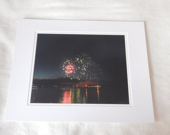 Fireworks  over coastal Maine