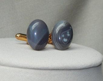 Botswana Agate cufflink,Stone cufflink,gemstone cufflink,grey cufflink,grooms cufflink,wedding cufflink,Oval grey cufflink,bridal cufflink