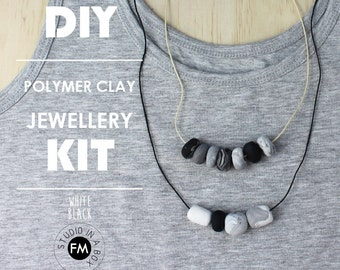 DIY Jewellery Kit//Jewelry Making Kit//Clay Jewellery kit//Polymer Clay//wood necklaces - Handmade - Black and White Colourway