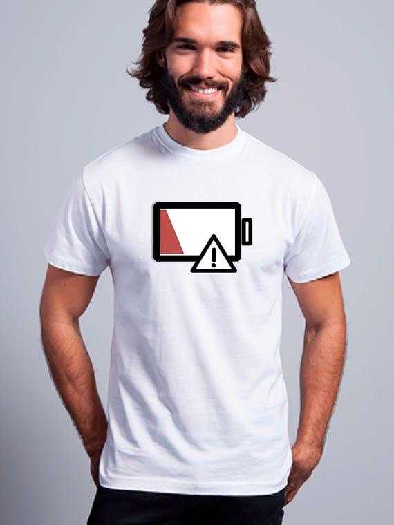 Round neck men short sleeve t-shirt LOW BATTERY