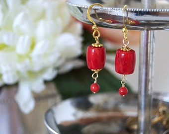 Bright Red Coral Statement Earrings