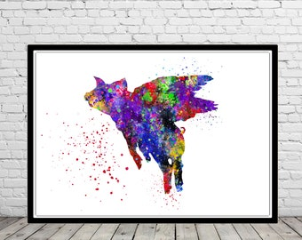 Flying Pig, pig, animal art, animal, when the pigs fly, watercolor pig, pig print, watercolor pig, kids room decor
