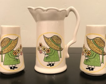 Vintage 1970's Holly Hobbie Style Salt and Pepper Shakers and Pitcher