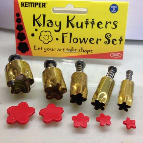 """Plunge style Flower cutter by Kemper Klay Kutters  set of 5 flower sizes 3/8"""" to 3/4"""""""