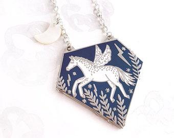 Pegasus Enamel Pendant Necklace - Silver